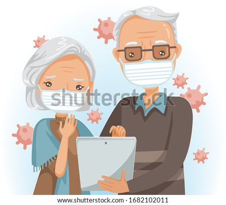 Elderly mask reading on tablet or use the tablet. Elderly couple search for the corona Covid-19 virus. Health care concept. Cartoon vector illustration.