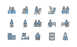 Elderly people and disabled flat line icons set blue color. Vector illustration caring for the elderly. Nursing home and hospice service. Editable strokes.