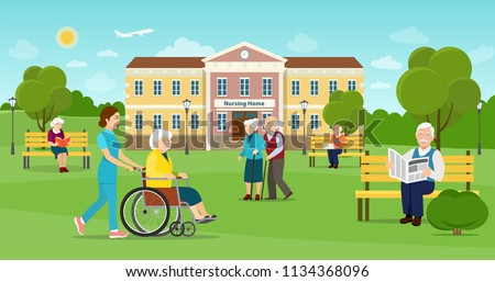 Elderly people are walking in the park. Nursing home building exterior. Vector flat style illustration