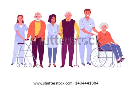 Elderly people care. Vector illustration of senior men and women with assistive devices and nurses helping them. Isolated on white.