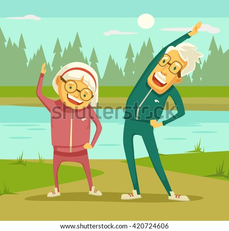 elderly people doing exercises