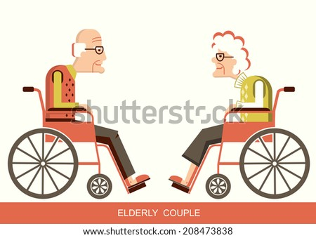 Elderly people in wheelchairs.Vector pensioners isolated for design