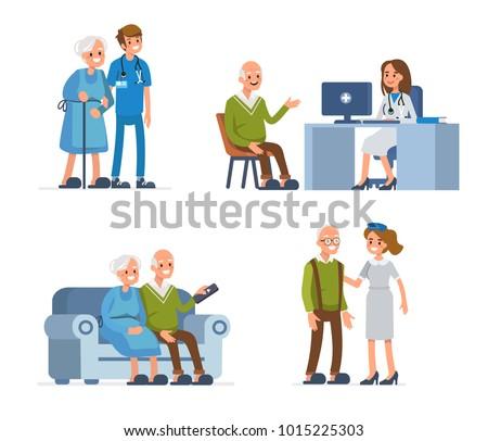 Elderly people leisure in nursing home. Flat style illustration isolated on white background.