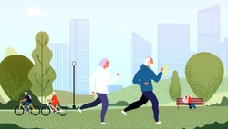 Elderly people park. Seniors happy grandfather grandmother couple elderly people walking running cycling summer outdoor vector concept