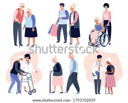 Elderly people walking, Social worker helping senior elder woman,  Grandfather and grandmother couple. Flat vector illustration