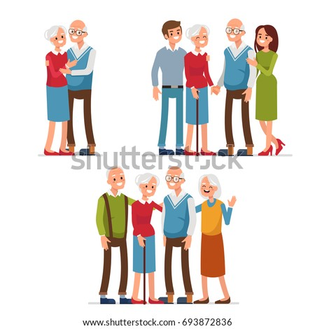 elderly people with friends and