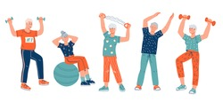 Elderly senior active people cartoon characters doing sport exercises, flat vector illustration isolated on white background. Active seniors men and women do workout. Elderly people healthy lifestyle.