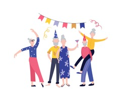 Elderly senior people characters birthday celebration party, flat cartoon vector illustration isolated on white background. Active and positive old men and women.