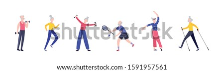 Elderly senior people diverse activity and sports, flat cartoon vector characters set illustrations isolated on white background. Active and positive old men and women.