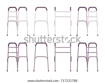 Elderly walker set. Support to maintain balance or stability while walking for senior people. Vector flat style cartoon illustration, isolated, white background, different positions