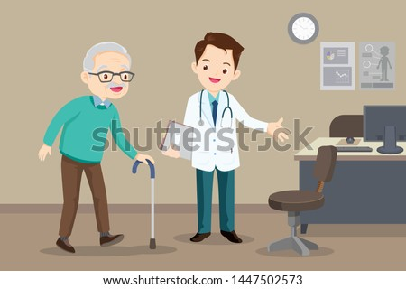 Elderly  walking.Docter helps  grandfather to go to the walker. Caring for the elderly.doctor and old patient
