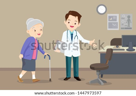 Elderly  walking.Docter helps  grandmother to go to the walker. Caring for the elderly.doctor and old patient