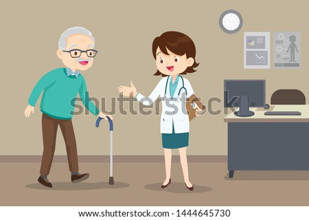 Elderly  walking.Docter helps her grandmother to go to the walker. Caring for the elderly.