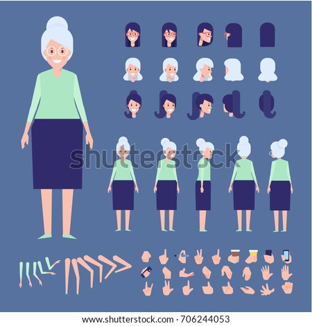 Elderly woman character creation set with various views, hairstyles and gestures. Front, side, back view animated character. Cartoon style, flat vector illustration.