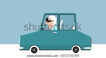 Elderly woman driving a car, EPS 8 vector illustration