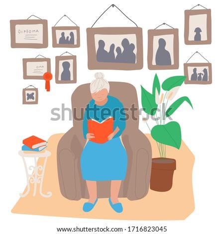 elderly woman sitting in