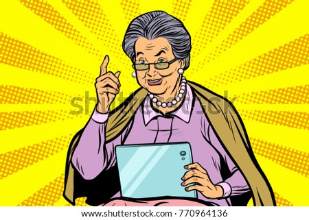 elderly woman with a tablet. Pop art retro vector illustration