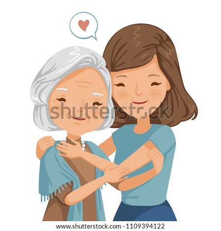 elderly woman with daughter