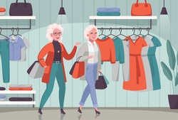 Elderly women enjoying shopping together cartoon composition with senior people choosing clothes in department store vector illustration