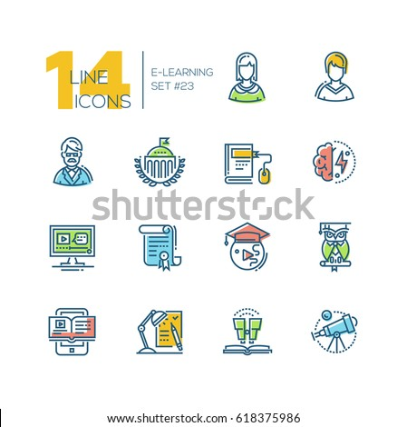 eLearning- colored vector modern single line icons set. Male and female student, teacher, monitor, certificate of degree, tablet, owl, telescope, brain power.
