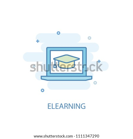 eLearning concept trendy icon. Simple line, colored illustration. eLearning concept symbol flat design from eLearning  set. Can be used for UI/UX