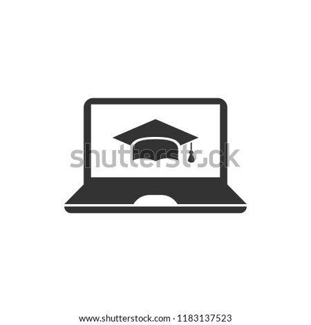 Elearning education icon in flat style. Study vector illustration on white isolated background. Laptop computer online training business concept.