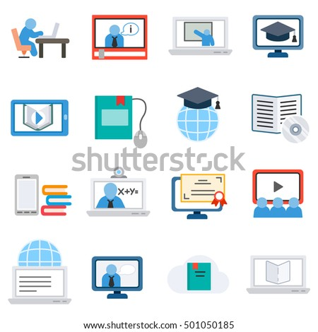 eLearning, icons set. Remote study, flat design. Training on the internet, isolated vector illustration. webinar and online lectures, symbols collection. #501050185