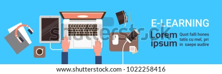 Elearning Online Education Banner With Student Hand Working On Laptop Computer Top View Horizontal Banner With Copy Space Flat Vector Illustration