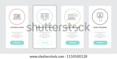 eLearning 4 webpage banners line concept template with Distance Exam, Interactive Course, Online Training, Video training icons. Modern web UI design concept