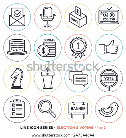 Election and voting line icons set.