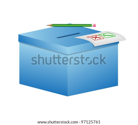 Election box - ballot box with pencil and a sheet of paper
