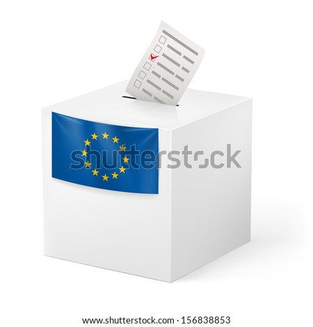 Election in European Union: ballot box with voicing paper isolated on white background.