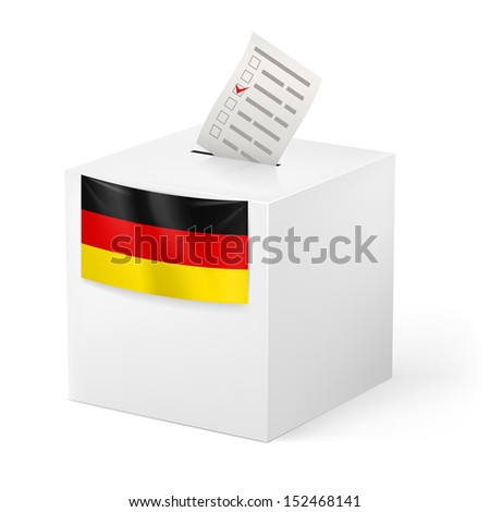 Election in Germany: ballot box with voicing paper isolated on white background.
