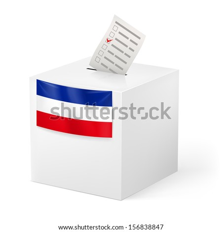 Election in Yugoslavia: ballot box with voicing paper isolated on white background.