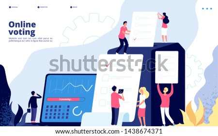 Election landing. Online voting people vote with government electronic system, internet president elections survey testing vector page. Illustration of online vote, digital election government