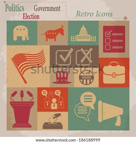 election vector retro flat icons