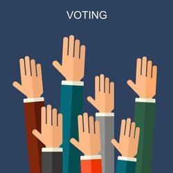 Election voting vector background. Vote concept illustration. Hands raised up, flat style.