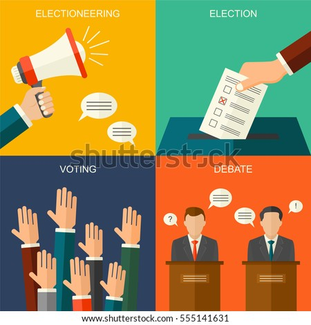Shutterstock Elections and voting concept vector flat style background. Illustration for political campaign flyer, leaflets and websites.