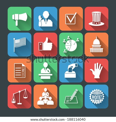 Elections and voting long shadow icons set of hand symbol president speech campaigning megaphone isolated vector illustration