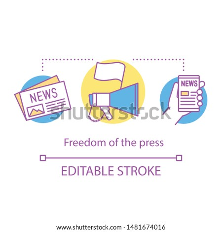 Elections concept icon. Freedom of press idea thin line illustration. Media expressing opinions freely. Democracy principle. Journalism and mass media. Vector isolated outline drawing. Editable stroke