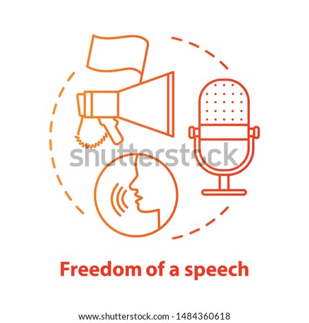 Elections concept icon. Propaganda. Freedom of speech idea thin line illustration. Expressing opinions, thoughts freely. Democracy, public opinion. Vector isolated outline drawing. Editable stroke