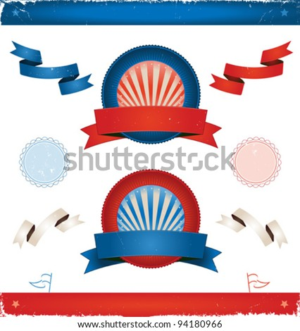 Elections In USA - Ribbons And Banners/ Illustration of a set of american colored vintage ribbons, banners, labels, shields  and seal stamper for elections or fourth of july national holiday