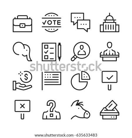 Elections line icons set. Modern graphic design concepts, simple outline elements collection. Vector line icons