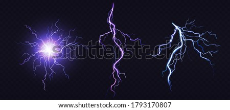 Electric ball and lightning strike, impact place, plasma sphere or magical energy flash of blue and lilac colors isolated on black background. Powerful electrical discharge, Realistic 3d vector set Stock photo ©
