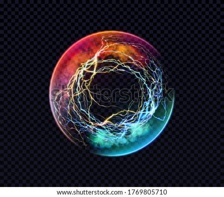 Electric ball. Lightning circle. Thunderbolt. Vector electric discharge effect. The light sphere in blue and purple colors isolated on a black background. Flash, plasma ball, energy or portal. Vector Foto stock ©