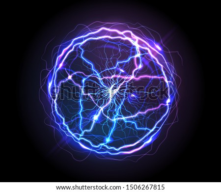 Electric ball or plasma sphere, realistic vector illustration. Abstractt ball lightning with burning rays or powerful electric discharges isolated on black background. Magical energy design element