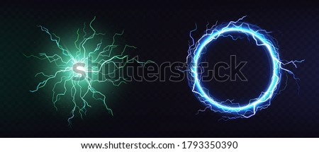 Electric ball, round lightning frame, blue thunderbolt circle border, magic portal, energy strike. Green plasma sphere, powerful electrical isolated discharge dazzle, Realistic 3d vector illustration Stockfoto ©