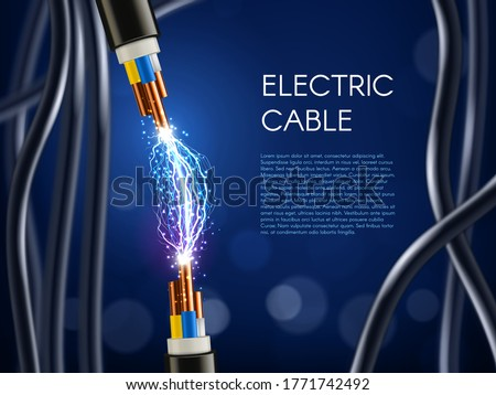 Electric cable with copper wire conductors. Vector 3d wiring, realistic wire cable with multicolored insulation and electric spark. Electricity, internet and television technology cord supply poster Foto stock ©