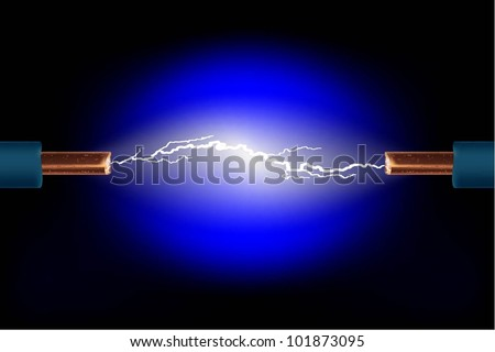 Electric cable with sparks on a black background. Vector.