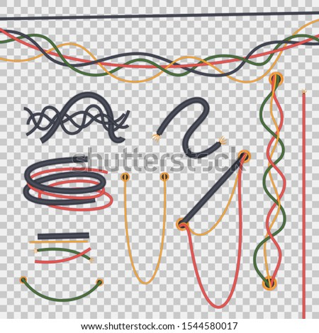 Electric cables set. Realistic isolated electrical wires intertwined with each other. Cables as line, curved waves, twisted. Flexible network electric cables isolated on transparent background vector